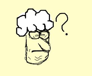 Old man with cloud hat ponders