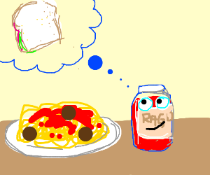 Sauce with a face thinks about sandwichs