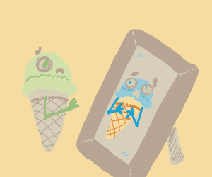 Ice Cream Cone Terrified Of Reflection