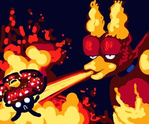 Magmar burns Vileplume