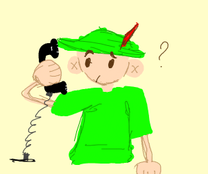 Robin Hood carrying a Telephone