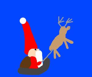 Santa in his sleigh /w reindeer
