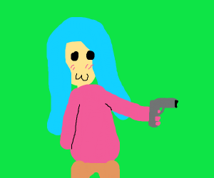 a blue haired girl with a gun. good job btw