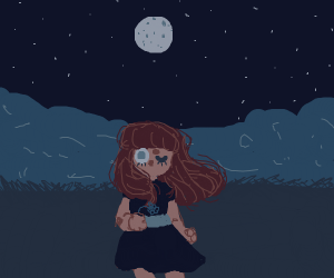 kind of creepy girl stands under full moon