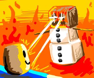 snowman from minecraft killing roblox noob