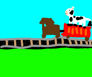 cow riding on top of a train