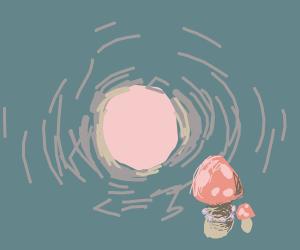 Mushroom has sprinkle necklace in cavern