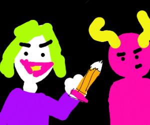 The Joker Fending Off Satan