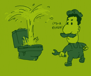 "Luigi ""fixed"" a toilet"