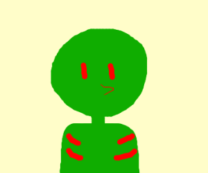 its a green man with red lineys on him he wil