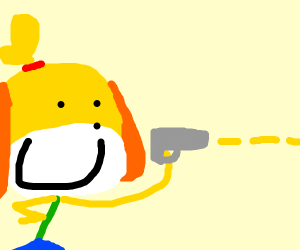 Isabelle (animal crossing) with a gun. owo
