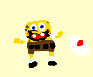 spongebob with only pants on