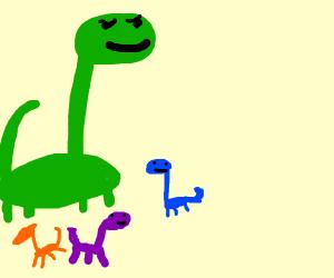 smol dinosaurs under massive dino