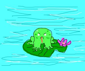 Angry frog on lily pad