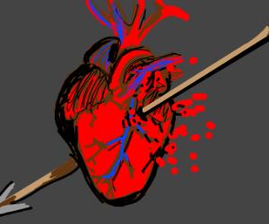 A heart getting pierced by arrow (with blood)