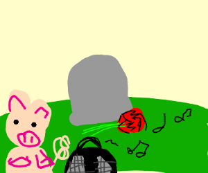 pig plays music at a grave