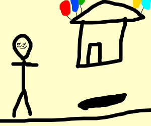 A Floating House and Man