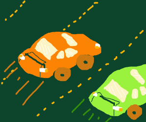 Orange and green racecar crossing the road