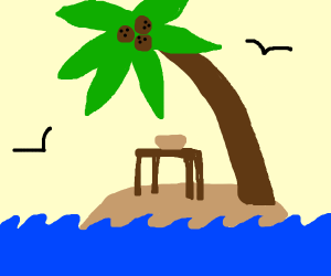 a table and a palm tree on a desert island