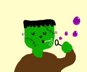 Frankenstein monster blowing purple bubbles