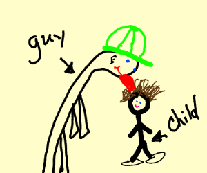 Guy licking a child's hair