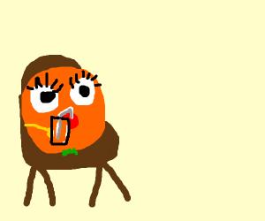 An orange drinking orange juice