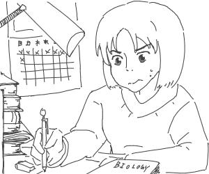 Japanese schoolgirl studies biology