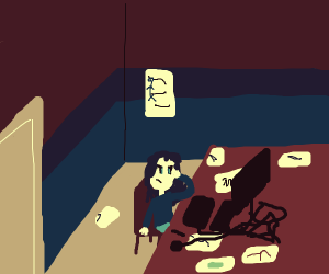 Someone's room with a lot of sketches
