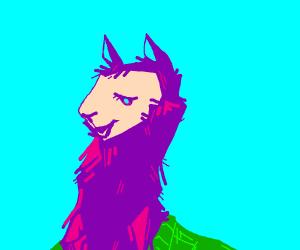 a fluffy purple llama in a green sweater