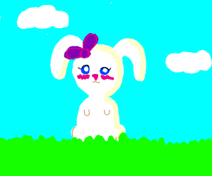 A white bunny with a purple bow and blushing