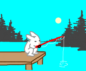 rabbit peacefully fishing
