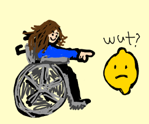 handicapped woman pointing at lemon