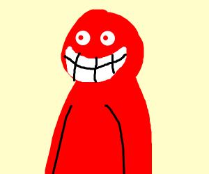 Horrifying red man with big teeth