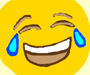close up of crying laughing emoji