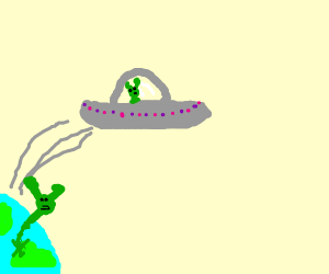 Long-necked alien gets left behind on earth