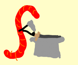 A red gummy worm with arms forging a weapon
