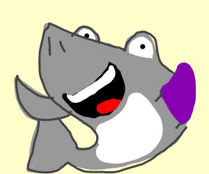Widely open smiling shark witha purple glove