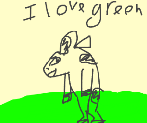 A cow standing on its hind legs with green