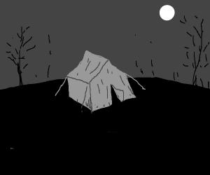 Camping in an open field