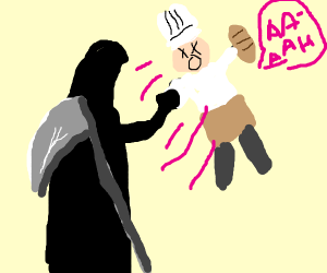 Grim Reaper punches Baker
