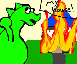Lizard gettin his house on fire