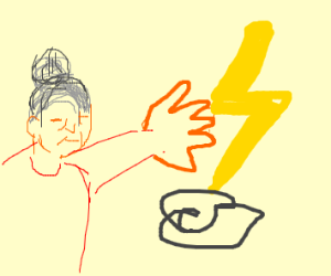 Old women lightning bolts a cloud