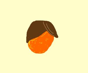 A orange with hair