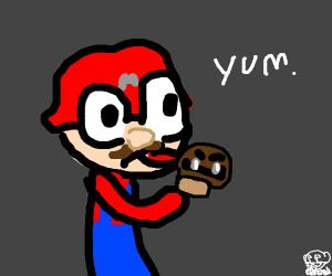 M-Mario plumber holding shroom