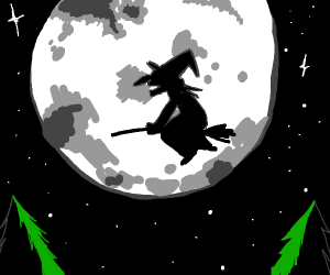 a witch flying past the moon