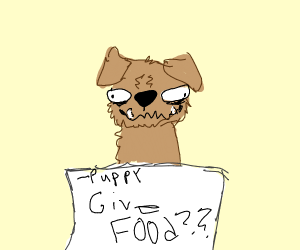 a note from a puppy about food