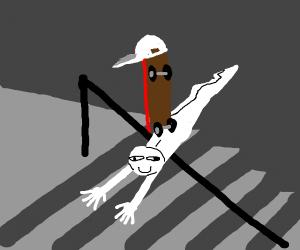Skateboard riding a human