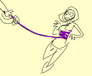 girl being caught by purple lasso