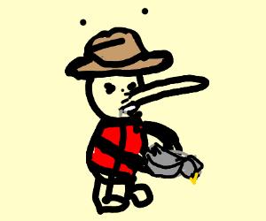 Pinocchio eating Bird