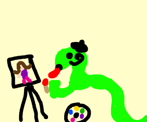 Glamorous snake paints picture of a woman